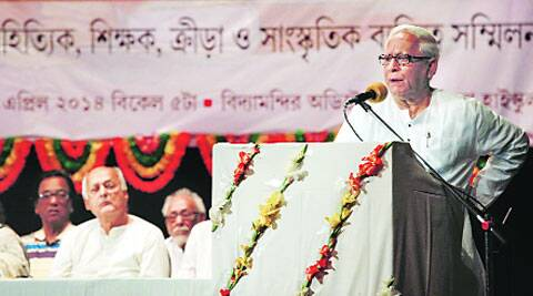 Former CM Buddhadeb Bhattacharjee addresses a gathering, in Kolkata on Saturday. (Subham Dutta)