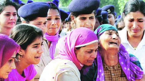 The family members of one of the CRPF personnel killed in the accident. Prem nath pandey