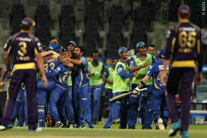 Rajasthan Royals' players celebrate their victory over Kolkata Knight Riders by the bouandary count rule after the super-over also finished as a tie. (Photo: BCCI/IPL)