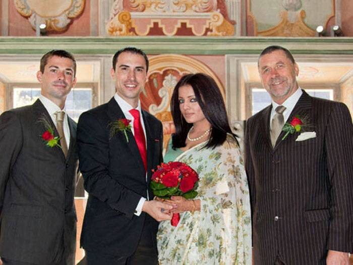 <b>Celina Jaitley - Peter Hagg</b>: Actress Celina Jaitley married Austrian businessman and hotelier Peter Hagg on July 23, 2011 at monastery in Austria. But, the actress broke the news to her fans on Twitter only a month later.