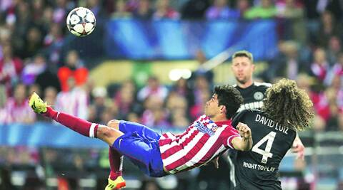 Atletico's Diego Costa tries an overhead kick during their Champions League semi-final first leg match against Chelsea. REUTERS