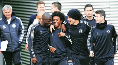 Carnival time: Jose Mourinho will depend on his imports from Brazil (from left to right) Ramires, Willian, David Luiz and Oscar, to take the Chelsea manager to his first-ever Champions League final with the London club (AP)