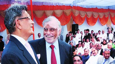 Outgoing Chief Justice of India P Sathasivam with his successor Justice R M Lodha during his farewell at the Supreme Court on Friday. (Prem Nath Pandey)