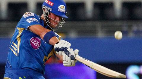 Corey Anderson of the Mumbai Indians plays a shot during an IPL 7 match against Chennai Superkings in Dubai on Friday. (PTI/BCCI)