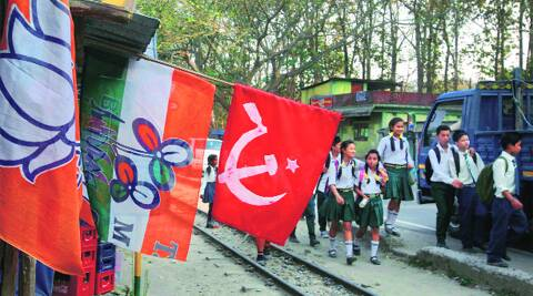 Flags of three of the four major flutter in Gulma, Darjeeling, which votes Thursday.Partha Paul