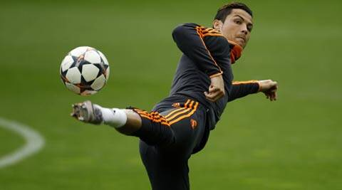 Real Madrid's Cristiano Ronaldo during a training session in Dortmund (Reuters)