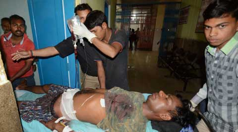 A CRPF jawan is shifted to a hospital after he got injured while defusing a bomb in Aurangabad on Monday. (PTI Photo)