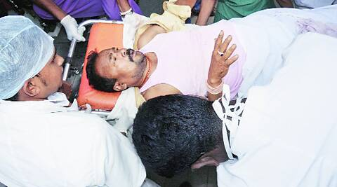 A person injured in the Bijapur attack being shifted to hospital in Raipur on Saturday. PTI