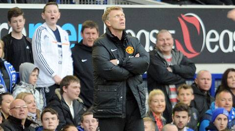 Manchester United's manager David Moyes is seen during their English Premier League match against Everton on Sunday. (AP)