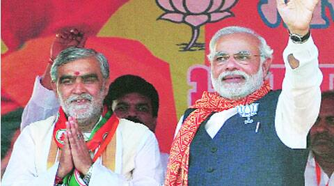 Narendra Modi with BJP's Buxar candidate Ashwini Chaubey at an election rally in Buxar on Wednesday.