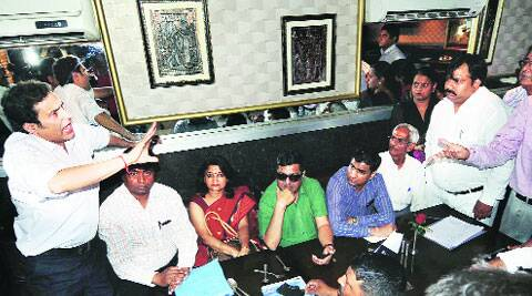 Aggrieved flat owners at a press conference on Wednesday.Gajendra Yadav