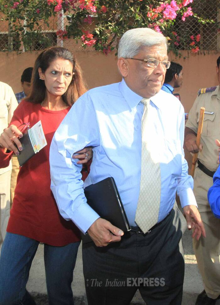 Deepak Parek, Chairman of Housing Development Finance Corporation, came to cast his vote with wife. (IE Photo: Vasant Prabhu)