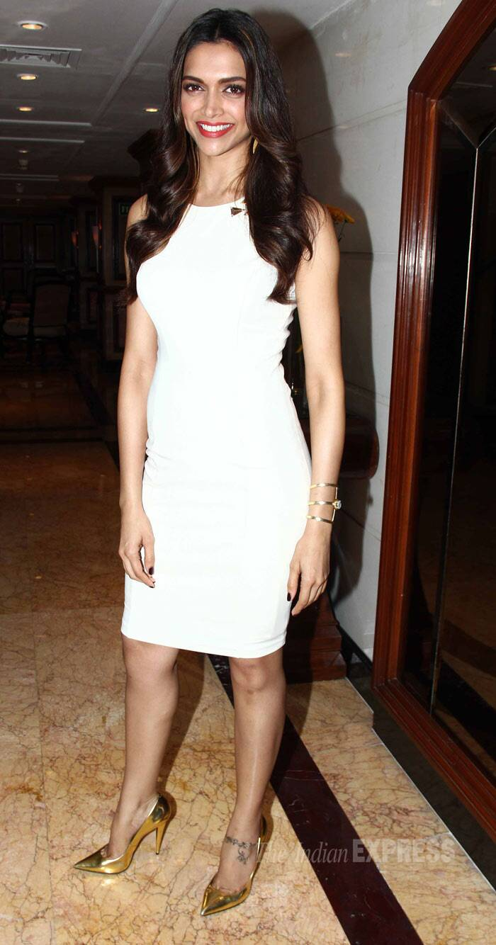 Deepika, who is likely to be seen as Mastani in Sanjay Leela Bhansali's 'Bajirao Mastani', quickly changed into a sexy white knee-length bodycon dress later. (Photo: Varinder Chawla)