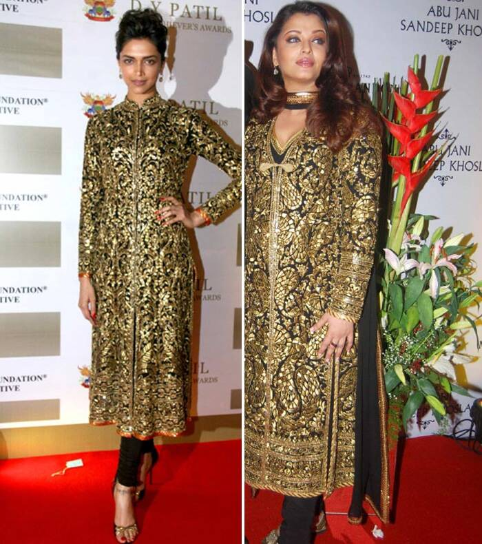 Aishwarya Rai Bachchan also seemed to have provided Deepika Padukone with a few ideas. The yum mum wore a gold embroidered Abu Jani Sandeep Khosla churridar suit to the anniversary celebration of the designers. Later that same week, Deepika Padukone was spotted wearing the same creation at an award function.