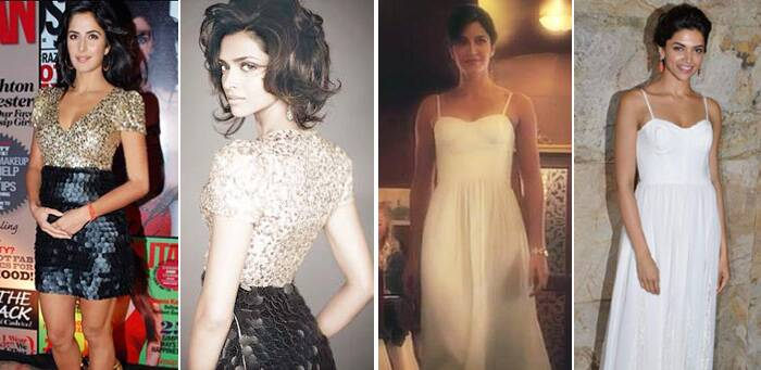 Deepika Padukone – Katrina Kaif: Both these Bollywood actresses have been spotted wearing the similar dress on two occasions. While Deepika donned the stunning Alice & Olivia white maxi to a film premiere, Kaif Katrina wore it for a commercial.  Another instance saw Katrina wearing the sexy gold and black sequined Monisha Jaising mini dress that Deepika wore for a photo shoot.