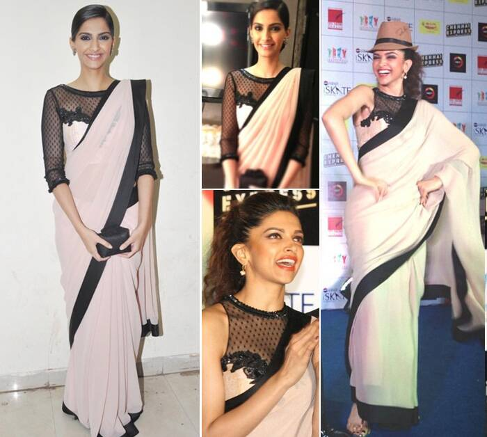 Deepika Padukone wore a nude and black coloured Atsu sari to a film promotional event, a look that which was also worn by Sonam Kapoor.