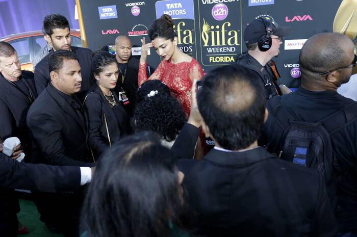 Phew! Deepika is tired of the paparazzi. (AP)