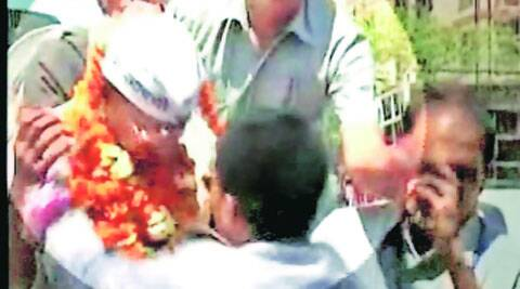 The attacker garlanded Kejriwal before slapping him. PTI