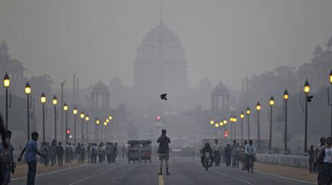 The Presidential Palace enveloped in a blanket of smog in New Delhi. (AP)