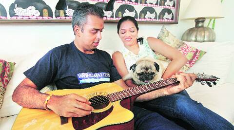 Milind Deora relaxes with his wife the day before polling.Pradeep Kocharekar