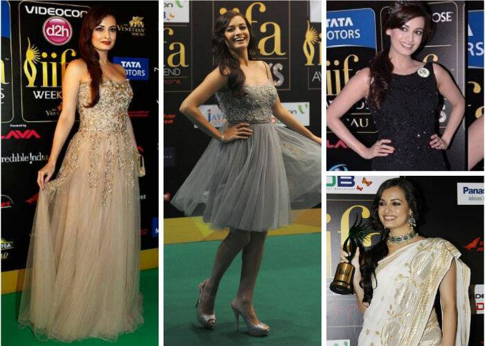 The 2013 IIFA awards saw actress-turned-producer Dia Mirza in a soft coloured tulle gown by Ayesha Depala. The dark lips and minimal makeup worked perfectly, complementing her look. She picked a knee-length number by Rocky S for the IIFA Rocks. Back in 2012, Dia went desi in a white and gold sari accessorized with a choker. The IIFA Rocks that year saw her in a grey-toned Rocky S number.