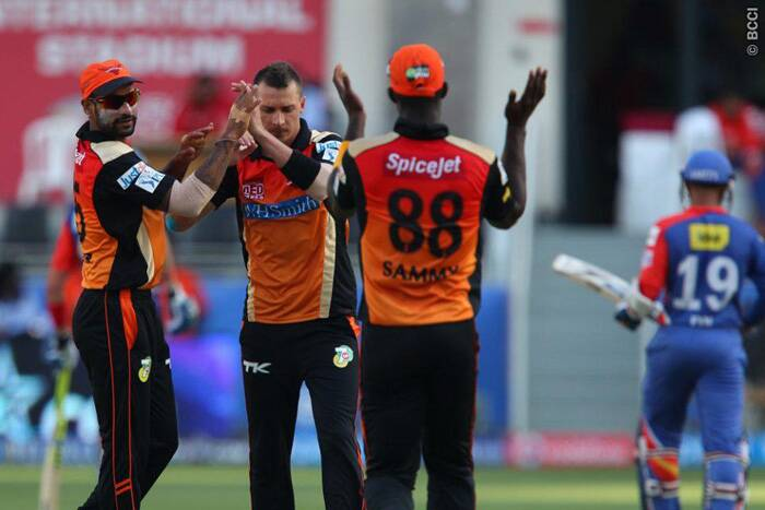 Dale Styen came back for a second spell and got the wicket of Dinesh Karthik, who scored 15 runs.  (Photo: BCCI/IPL)