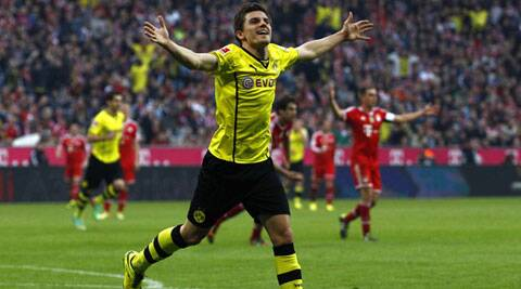 Borussia Dortmund's Jonas Hofmann celebrates a goal against Bayaern Munich during the German Bundesliga match on Saturday. (Reuters)
