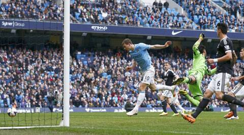 Edin Dzeko scored Manchester City's third goal against Southampton at home in the 4-1 win on Saturday. (Reuters)