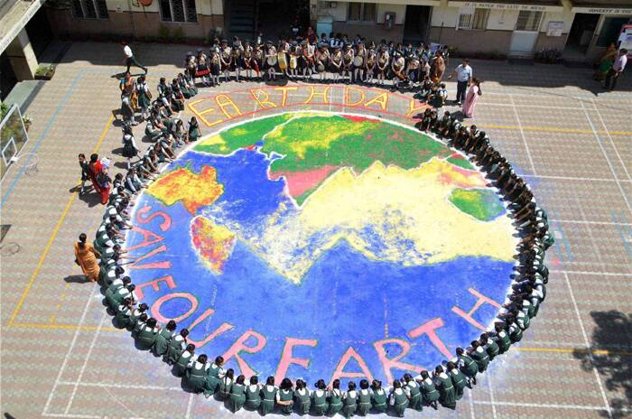 It was first celebrated in 1970 and is now coordinated globally by the Earth Day Network and celebrated in more than 192 countries each year. <br />School children take part in an event to mark World Earth day in Moradabad. (PTI)