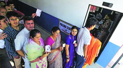 Long lines at booths in Chandigarh on April 10. archive