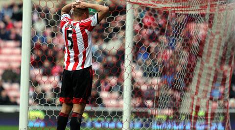 Sunderland's Brown scored an own goal to give Everton a 1-0 win which moved them to fourth spot ahead of Arsenal. (AP)