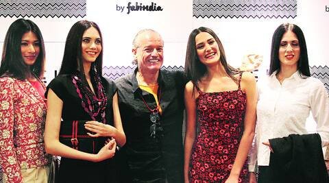 Alistair Blair with models wearing designs from Fabels.
