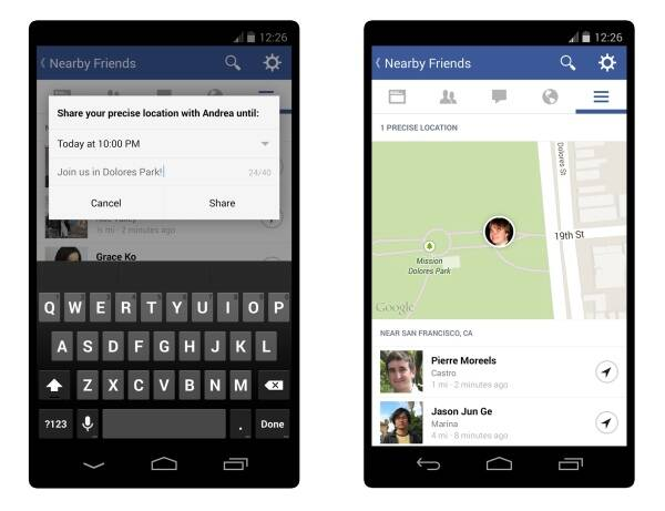 "This image provided by Facebook shows how users can manually share their location using the ""Nearby Friends"" tool."
