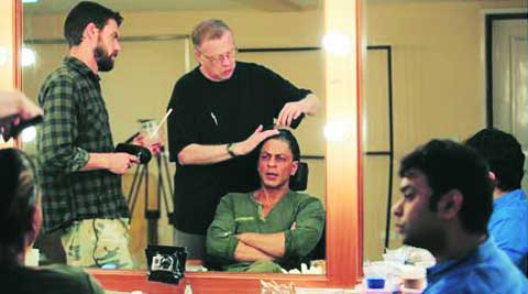 Greg Cannom giving SRK a new look, as director Maneesh Sharma looks on