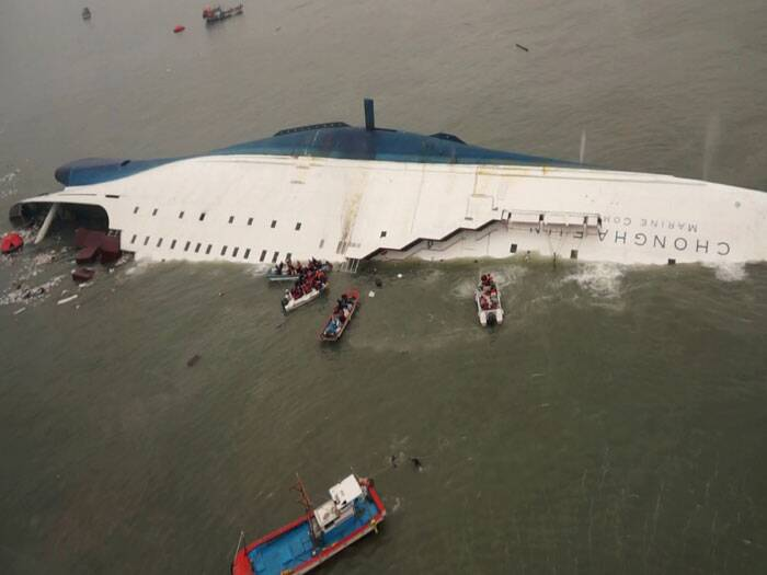 Coast guard spokesman Kim Jae-in said that in the next two days, three vessels with cranes onboard would arrive to help with the rescue and salvage the ship. (AP)