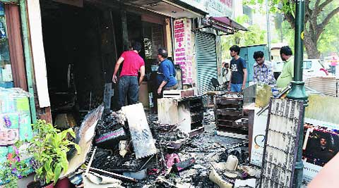 A shop damaged in fire. (PTI)