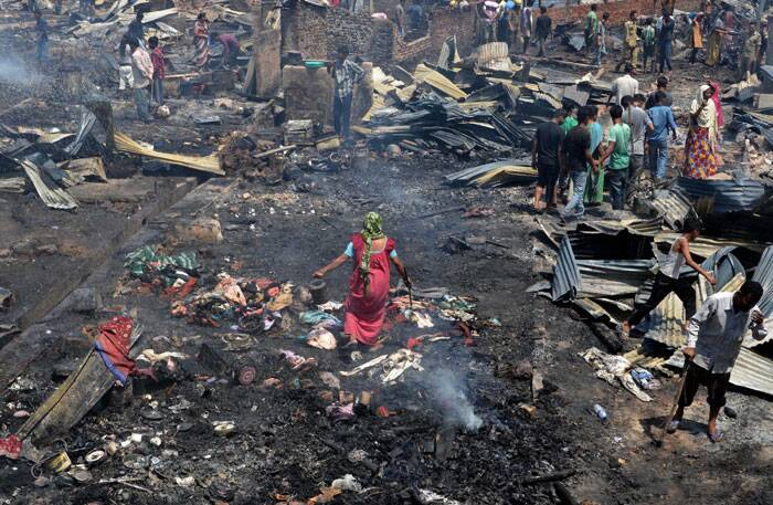 A fire gutted down many residential houses at Signal Bosti in Dimapur, Nagaland on Saturday. (PTI)