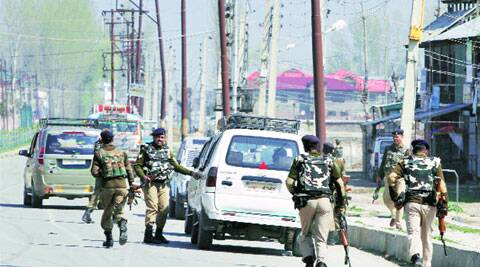 Security personnel at the encounter site on the outskirts of Srinagar. AP
