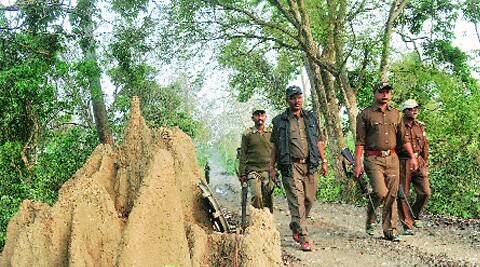 Rupak Bhuyan (in jacket) with his team. On March 22, they shot dead a poacher.(Dasarath Deka)