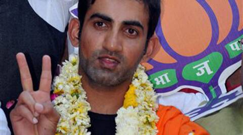 Cricketer Gautam Gambhir during his road show for BJP candidate Arun Jaitley in Amritsar on Saturday. (PTI Photo)