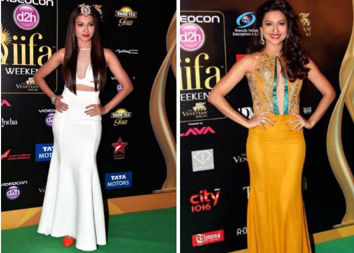 'Bigg Boss' winner Gauahar Khan donned a white cutout mesh gown last year, 2013 at Macau. Though we liked the gown, we can't say the same for the red shoes and head accessories. For the IIFA Rocks last year, Gauahar stunned in a beautiful ochre coloured keyhole gown by Narendra Kumar.