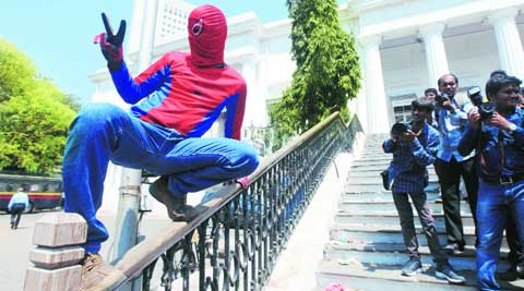 Independent candidate Gaurav Sharma dressed as Spiderman. (Prashant Nadkar)