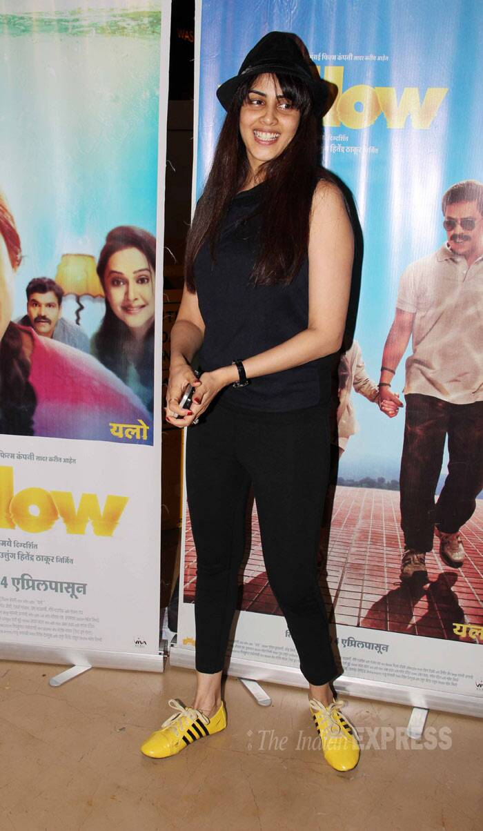 That Girl in Yellow Boots -- Genelia D'Souza was cute in an all-black avatar with bright yellow sneakers and a hat. (Photo: Varinder Chawla)