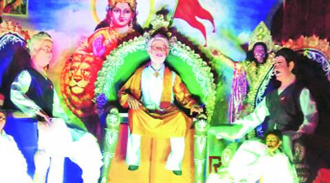 An idol of Narendra Modi during Ramnavami celebrations in Hazaribagh.