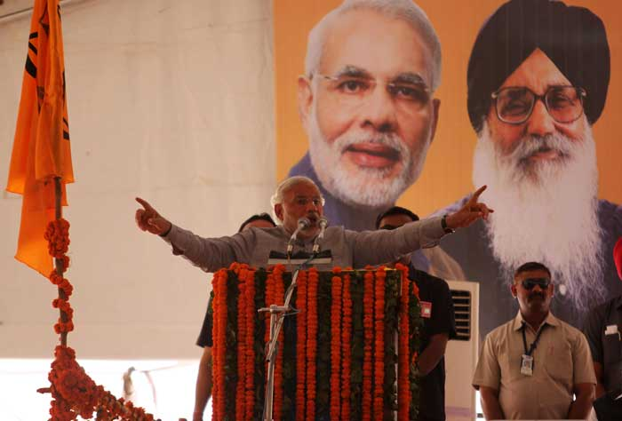 Narendra Modi addressing a rally in Ludhiana on Friday. (IE Photo: Gurmeet Singh)