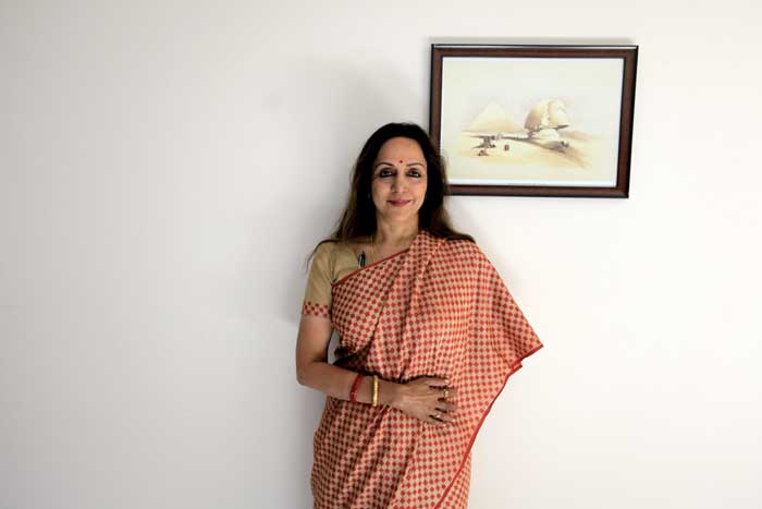 Hema Malini, BJP candidate from Mathura, poses for a photograph at a hotel in Mathura a day before polling for Lok Sabha elections.  (Express photo: Ravi Kanojia)