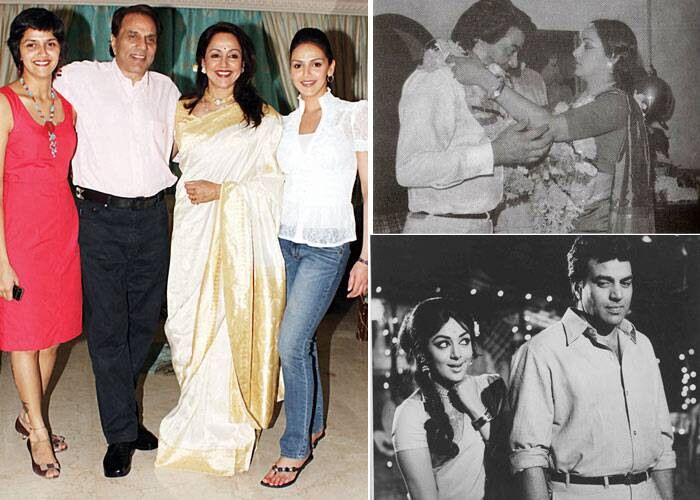 <b>Dharmendra – Hema Malini</b>: Bollywood' dream girl is said to have  fallen in love with Dharmendra on the sets of 'Sholay'. They eloped to Khandala and got married in 1980. It is also believed that Dharmendra, who was already married had converted to Islam, in order to marry Hema. (Express Archive Photo)