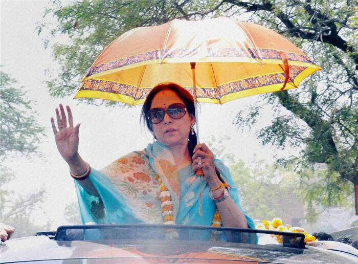 Bollywood Actress & BJP Candidate Hema Malini during her election campaign in Mathura on Monday. (PTI)