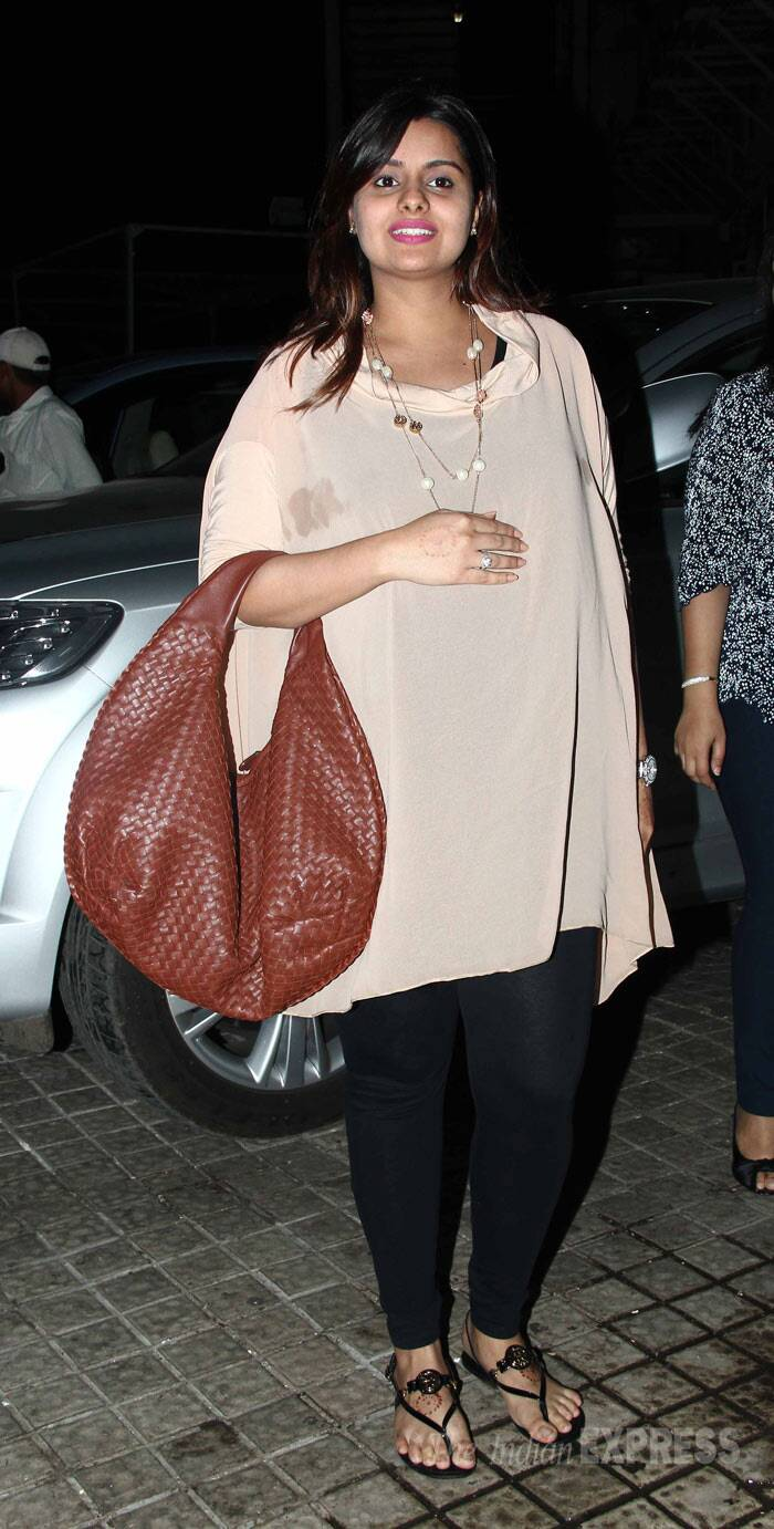 Vashu Bhagnani's daughter Honey wore a nude coloured blouse with black tights. (Photo: Varinder Chawla)
