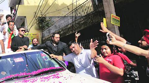 Honey Singh campaigns in Tilak Nagar. (Ravi Kanojia)